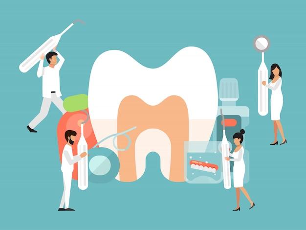 Personagens de pessoas pequenas dentistas. atendimento odontológico por médicos minúsculos banner. pessoas dentista com ferramentas se preocupa com dente grande Vetor Premium