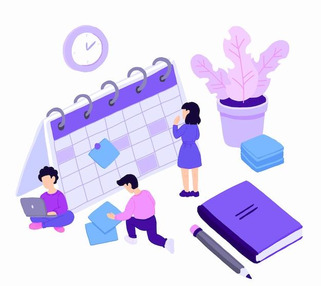 Personagens de pessoas planejando programação com calendário. Vetor Premium