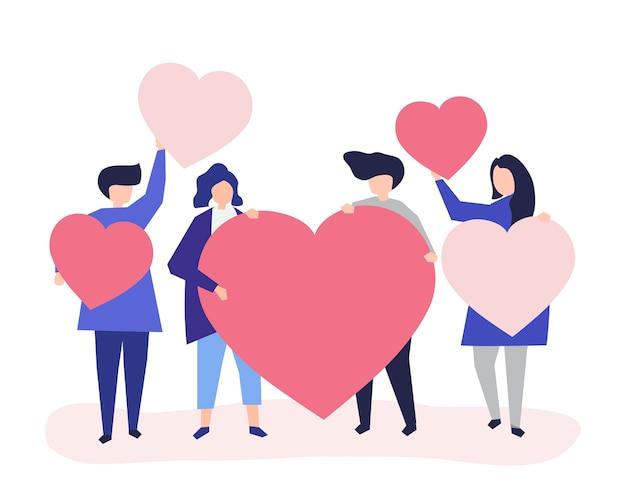 Personagens de pessoas segurando a ilustração de formas de coração Vetor grátis