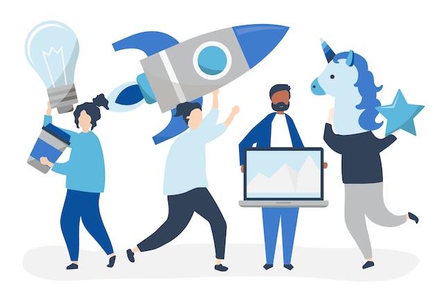 Personagens de pessoas segurando ícones do conceito de negócio criativo Vetor grátis