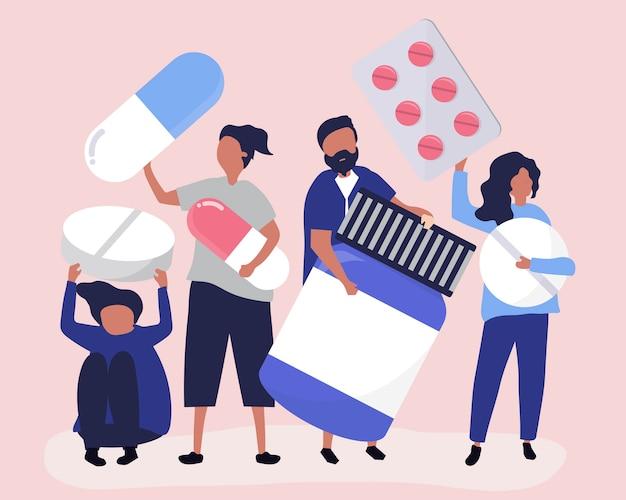 Personagens de pessoas segurando ícones farmacêuticos Vetor grátis