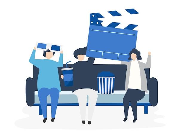 Personagens de pessoas segurando ilustração de ícones do filme Vetor grátis