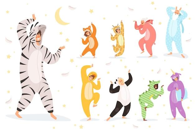 Personagens de pijamas. crianças felizes e pais brincando em trajes têxteis noturnos. ilustração animal fantasia, menina engraçada e pijama de menino Vetor Premium