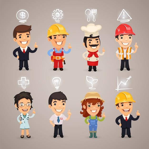 Personagens de profissões com ícones Vetor Premium