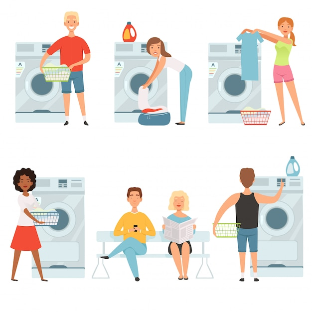 Personagens de serviço de lavanderia. vector lavar casa mascote design Vetor Premium