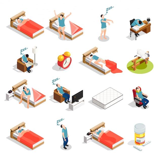 Personagens de sono e distúrbios saudáveis Vetor grátis