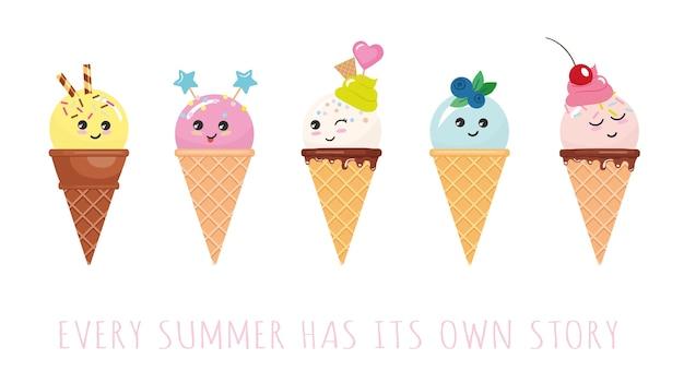 Personagens de sorvete de kawaii Vetor Premium