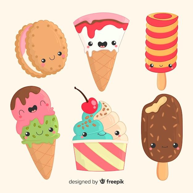Personagens de sorvete kawaii Vetor grátis