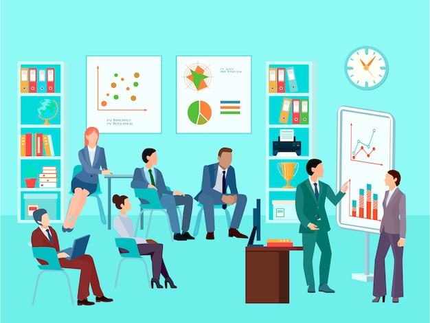 Personagens de trabalhador de negócios de estatísticas de análise reunião composição com sessão de trabalho de equipe Vetor grátis