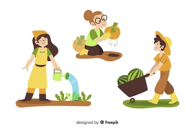 Personagens de trabalhadores agrícolas de design plano colheita Vetor grátis