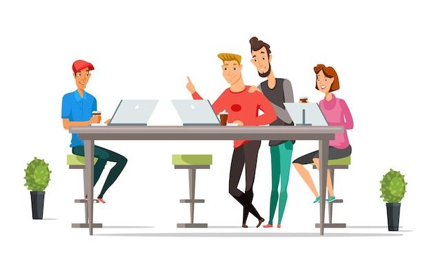Personagens de trabalhadores de escritório, empresários e empresárias no escritório de espaço aberto. Vetor Premium