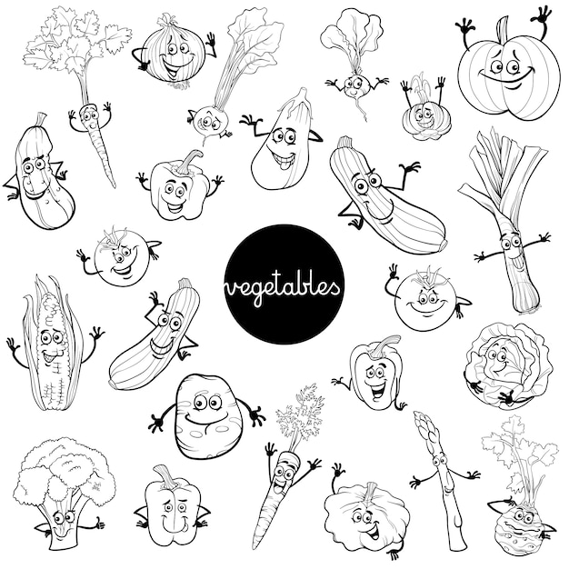 Personagens De Vegetais De Desenhos Animados Definem Livro De
