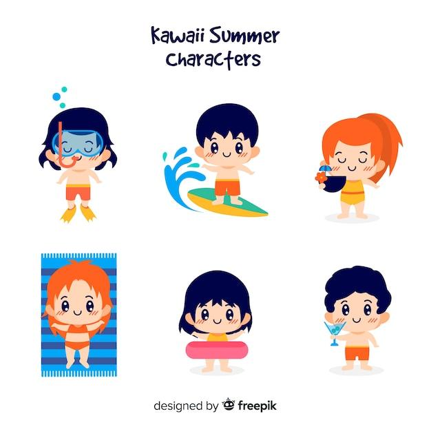 Personagens de verão kawaii Vetor grátis