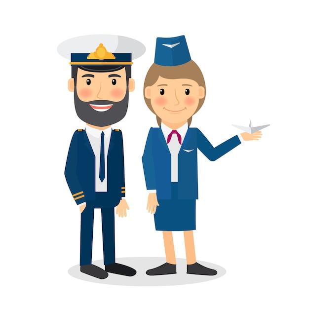 Personagens de vetor de piloto e aeromoça Vetor Premium
