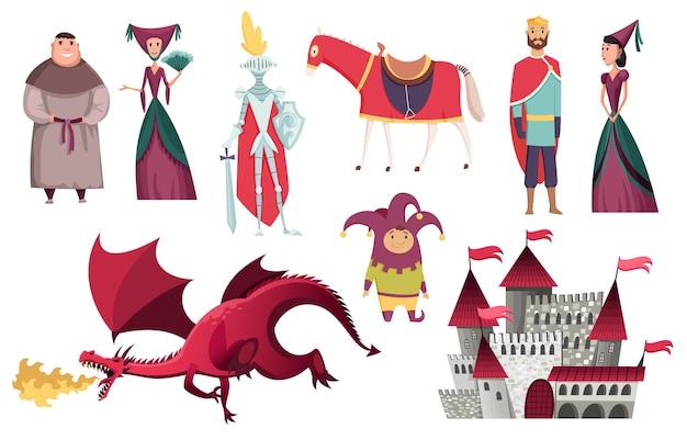 Personagens do reino medieval do design de ilustração do período histórico da idade média Vetor Premium