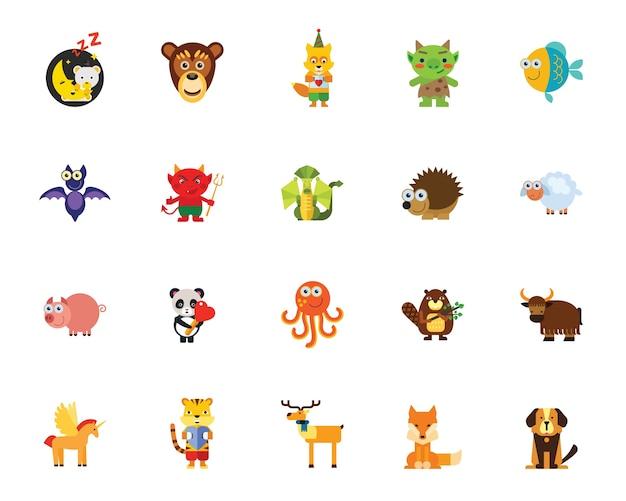 Personagens em conjunto de ícones de contos de fadas Vetor grátis