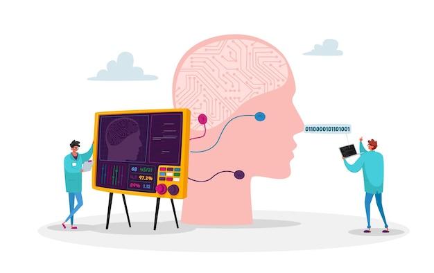 Personagens engenheiros criam mente de inteligência artificial Vetor Premium