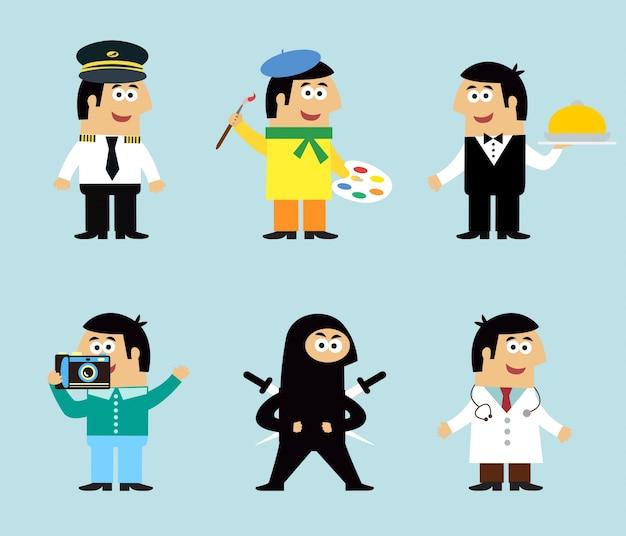 Personagens engraçados com diferentes profissões Vetor grátis