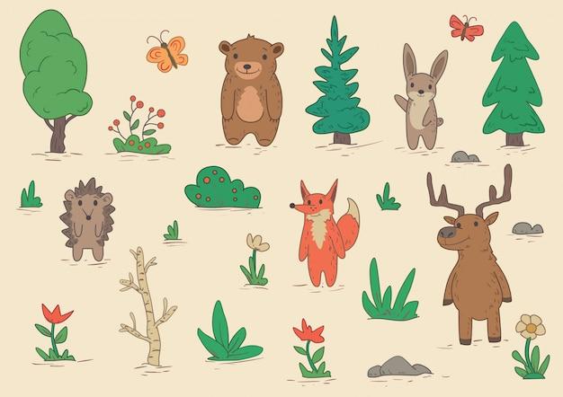 Personagens engraçados de animais em pé entre árvores e arbustos. conjunto de ilustrações. sobre fundo bege. Vetor Premium