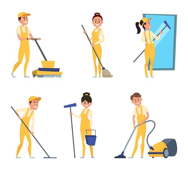 Personagens engraçados de limpeza ou serviço técnico Vetor Premium