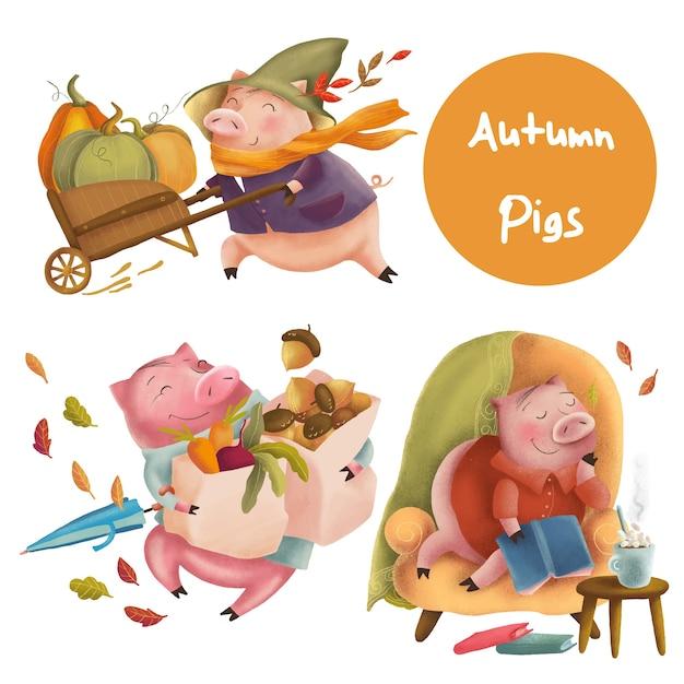 Personagens engraçados de porcos de outono Vetor Premium