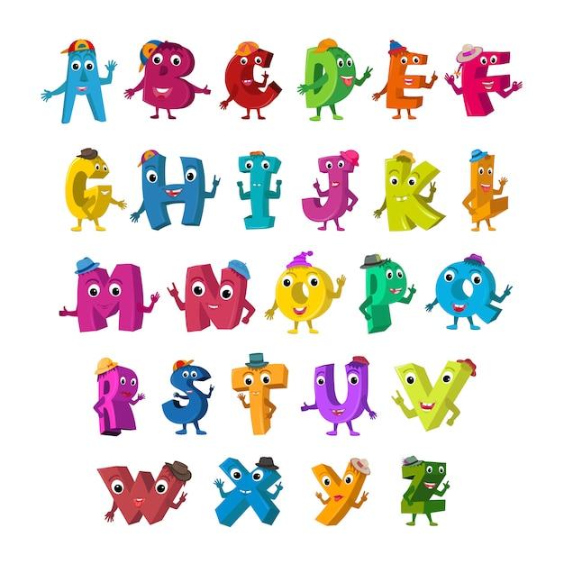Personagens engraçados do alfabeto. Vetor Premium