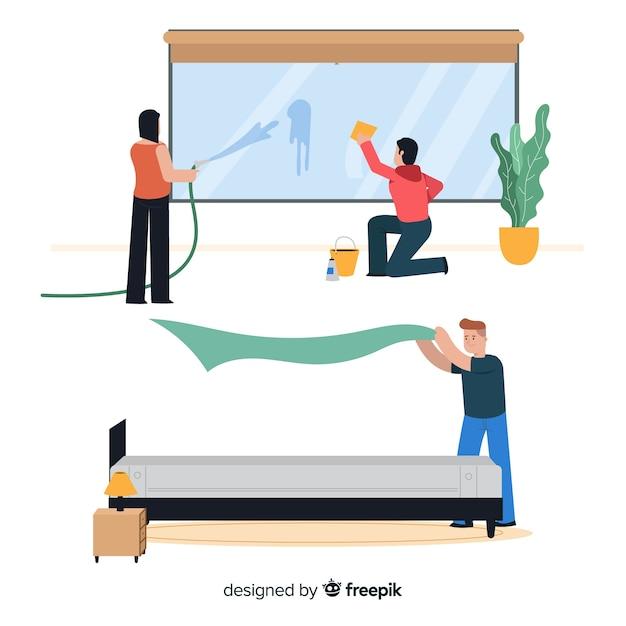 Personagens fazendo trabalhos domésticos ilustração design Vetor grátis