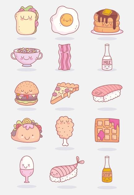 Personagens fofinhos de comida Vetor Premium