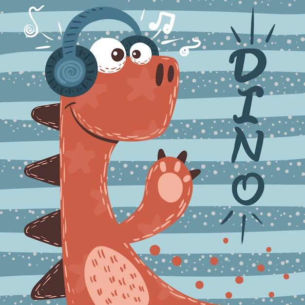 Personagens fofinhos de dino. ilustração da música. Vetor Premium