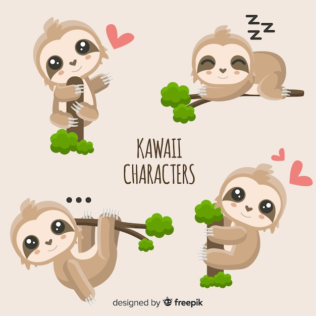 Personagens fofinhos de kawaii Vetor grátis