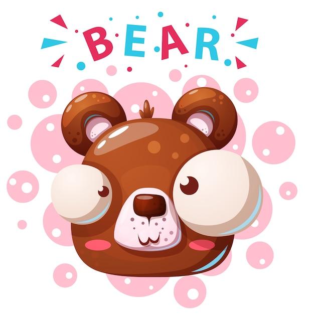 Personagens fofinhos urso Vetor Premium