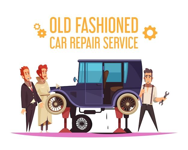 Personagens humanos e reparação de carro à moda antiga em desenho animado de fundo branco Vetor grátis