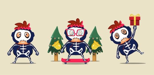 Personagens infantis fofinhos do mascote com fantasias de caveira celebrando o natal Vetor Premium