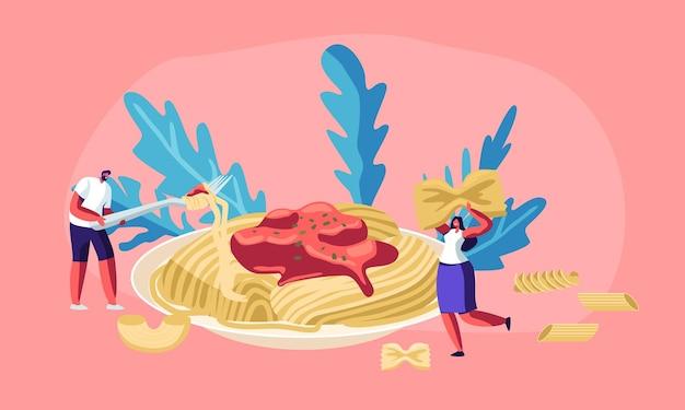 Personagens masculinos e femininos comendo macarrão espaguete com molho saboroso do prato enorme, com macarrão seco de vários tipos ao redor. cozinha italiana, cardápio de comida saudável Vetor Premium