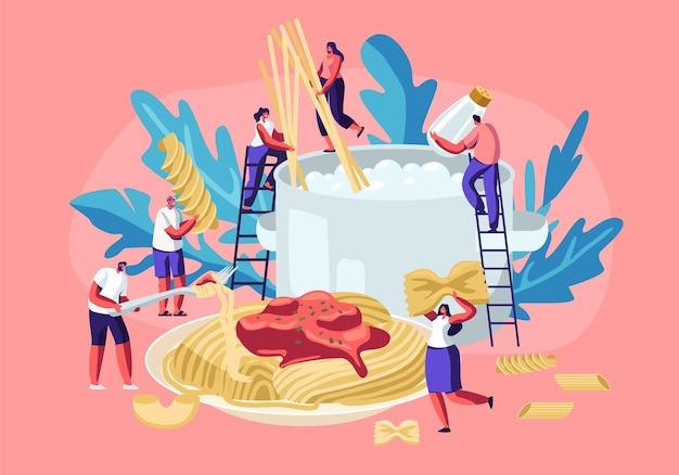 Personagens masculinos e femininos cozinhando macarrão, colocando espaguete e macarrão seco de vários tipos Vetor Premium