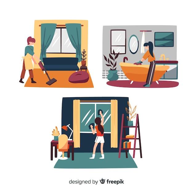 Personagens minimalistas, fazendo o conjunto de tarefas domésticas Vetor grátis
