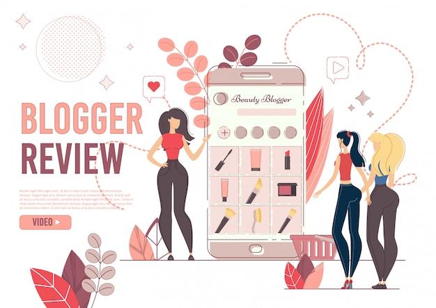 Personagens mulheres com telefone na moda blogger review Vetor Premium