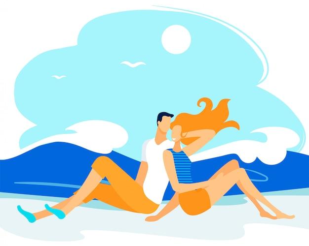 Personagens par gastam tempo na costa do mar, casal Vetor Premium