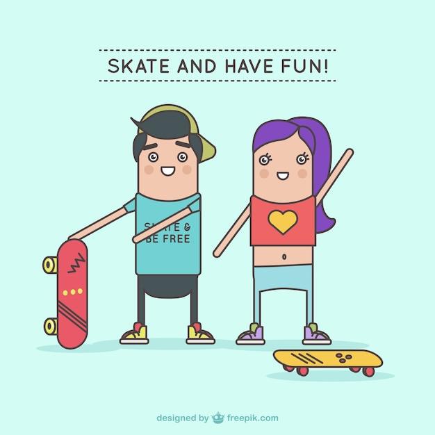 Personagens se divertindo com skates Vetor grátis