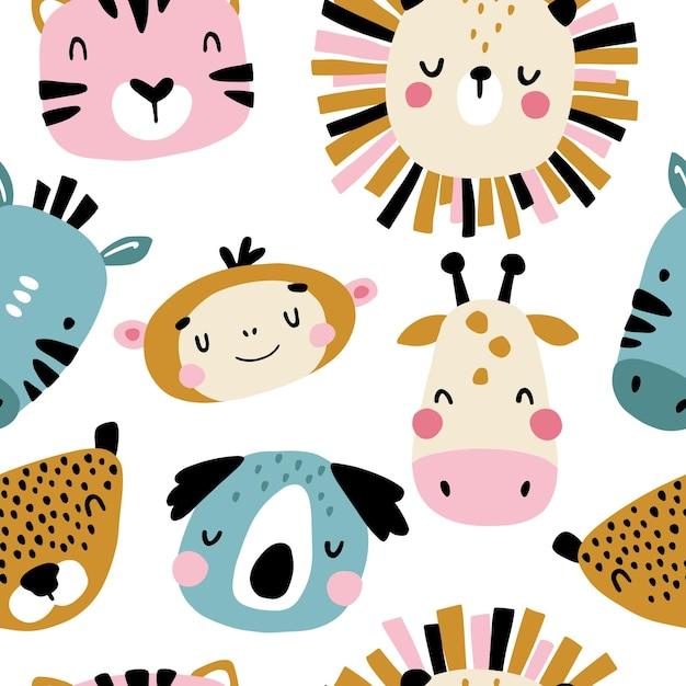 Personagens tropicais padrão sem emenda com rostos de animais fofos. Vetor Premium