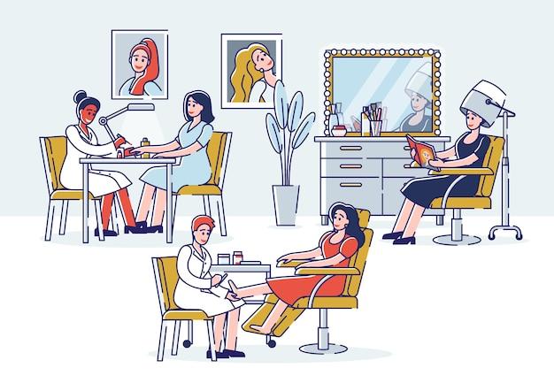Personagens visitam salão de beleza para fazer manicure e pedicure Vetor Premium