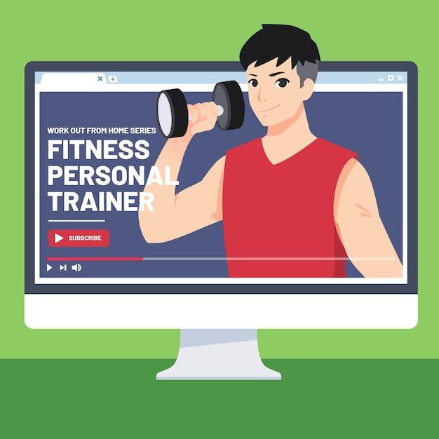 Personal trainer online Vetor grátis
