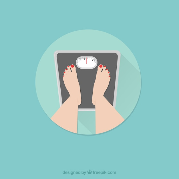 Pés fêmeas que estão em uma escala de peso Vetor grátis