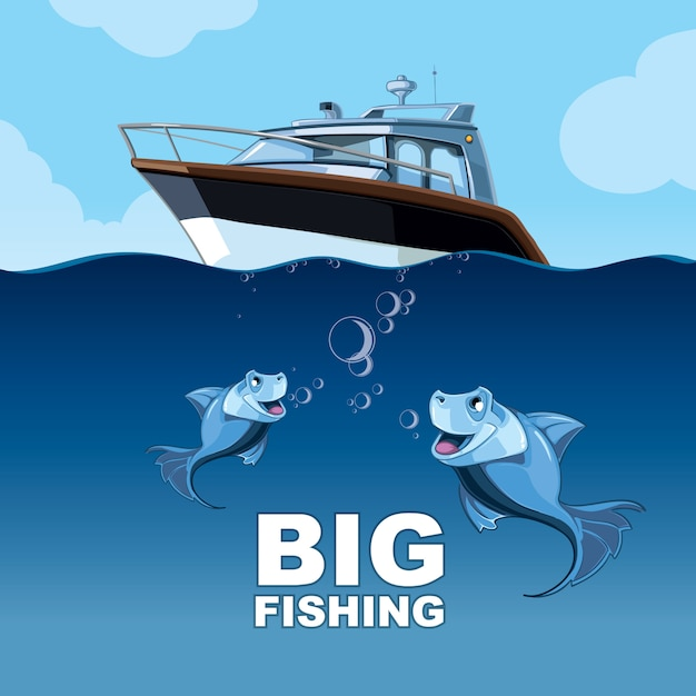 Pesca do iate Vetor Premium