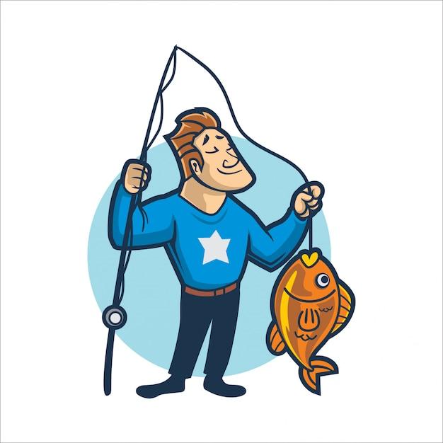 Pesca fácil dos desenhos animados Vetor Premium