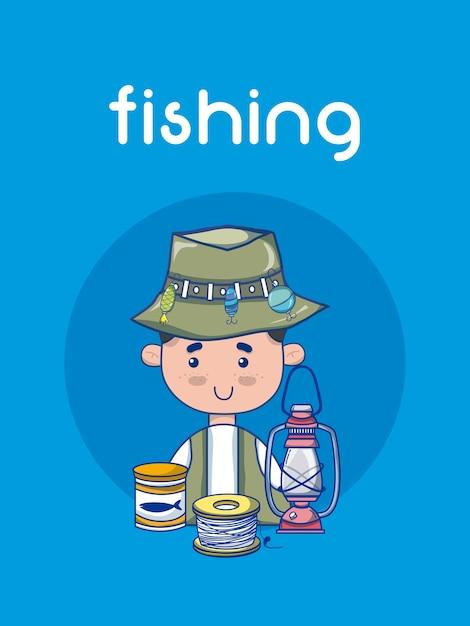 Pescador Bonito Com Desenhos Animados De Equipamento Baixar
