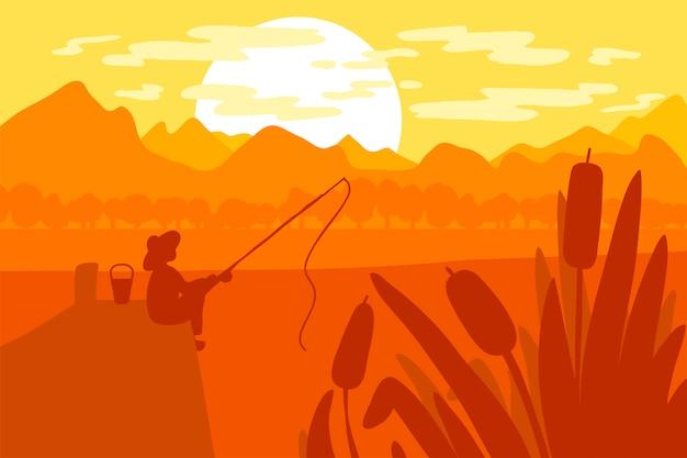 Pescador, com, cana de pesca Vetor Premium