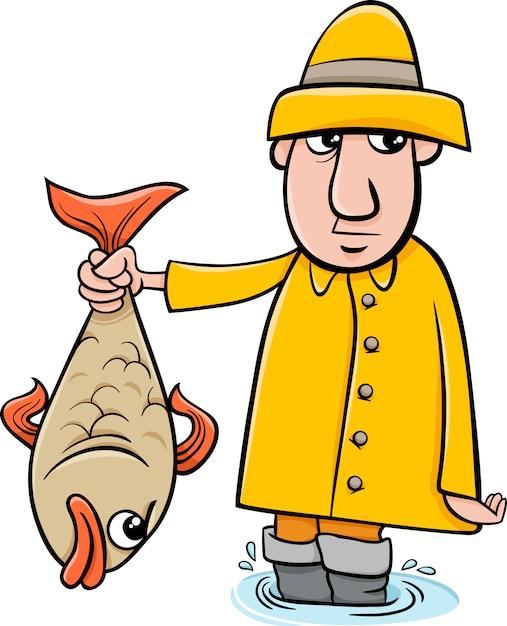 Pescador Com Desenhos Animados De Peixe Vetor Premium