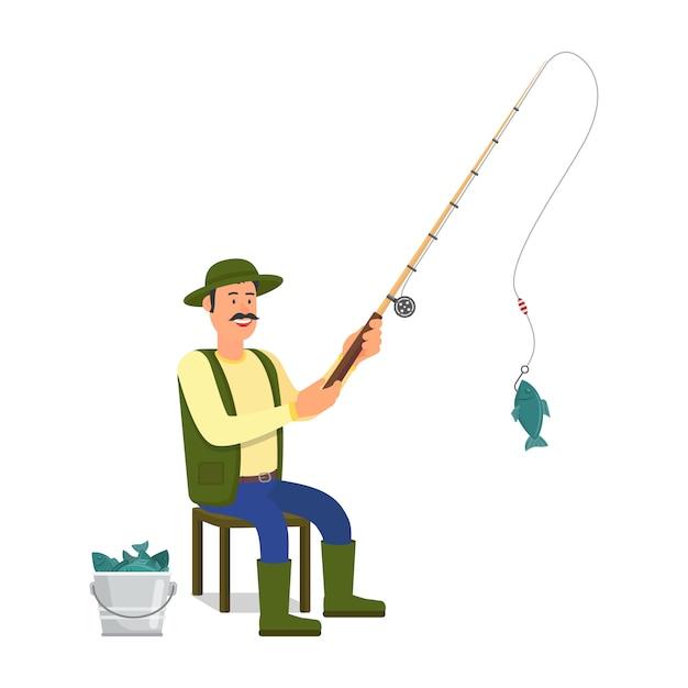 Pescador Com Vara Pescando Branco Vetor Premium