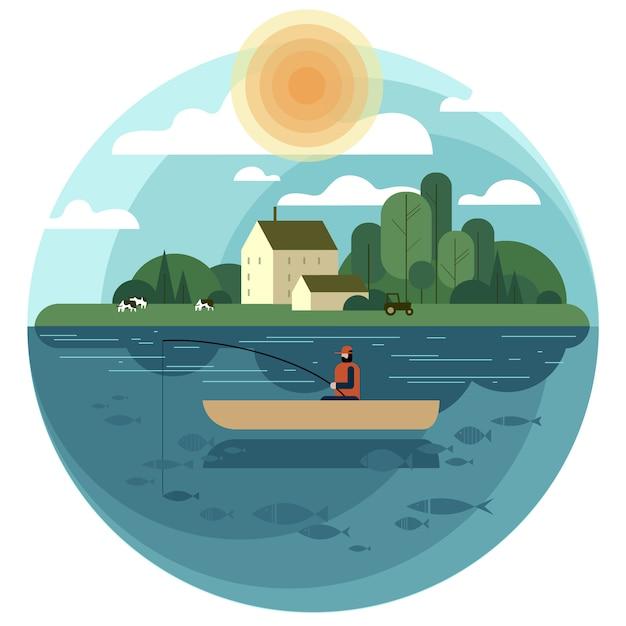 Pescador em um barco pega um peixe em uma lagoa da aldeia ou lago Vetor Premium